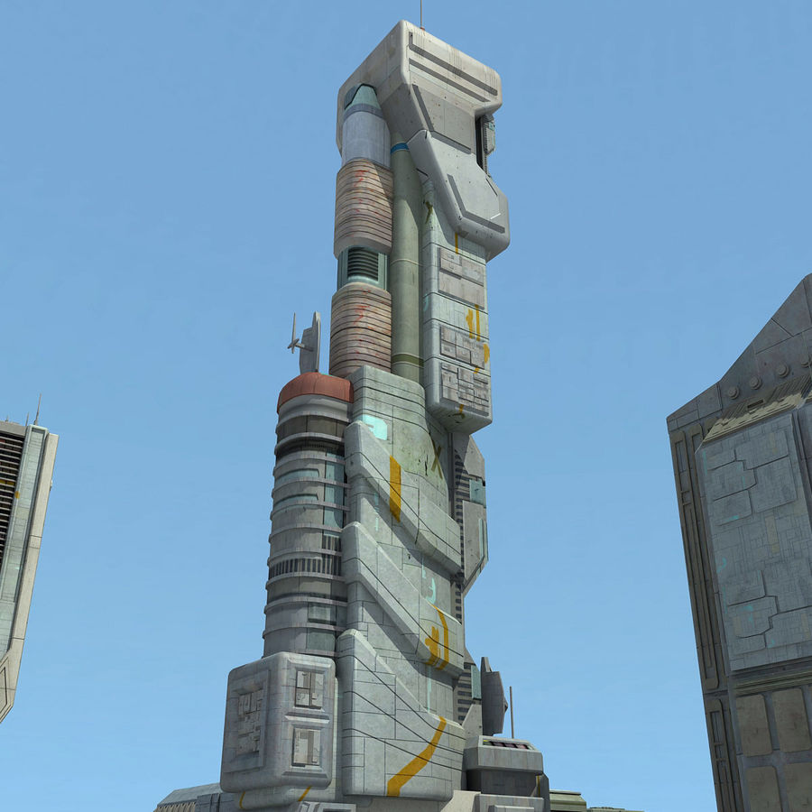 Sci Fi City 11 Buildings royalty-free 3d model - Preview no. 10