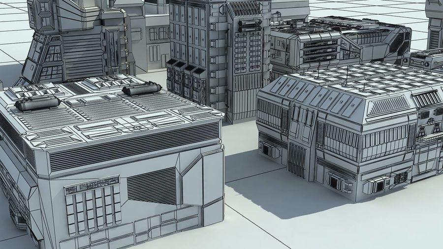 Sci Fi City 11 Buildings royalty-free 3d model - Preview no. 31