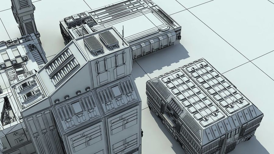 Sci Fi City 11 Buildings royalty-free 3d model - Preview no. 34