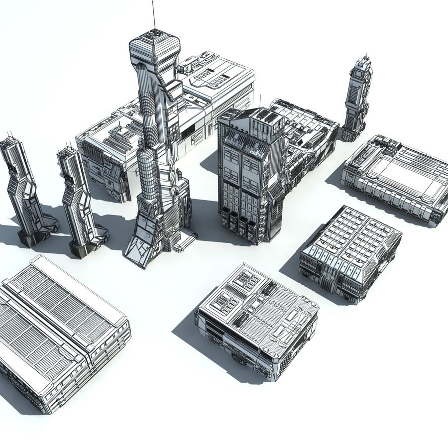 Sci Fi City 11 Buildings royalty-free 3d model - Preview no. 37