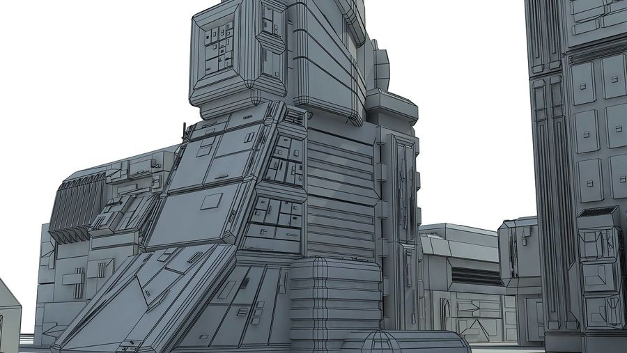 Sci Fi City 11 Buildings royalty-free 3d model - Preview no. 35