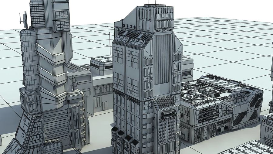 Sci Fi City 11 Buildings royalty-free 3d model - Preview no. 33