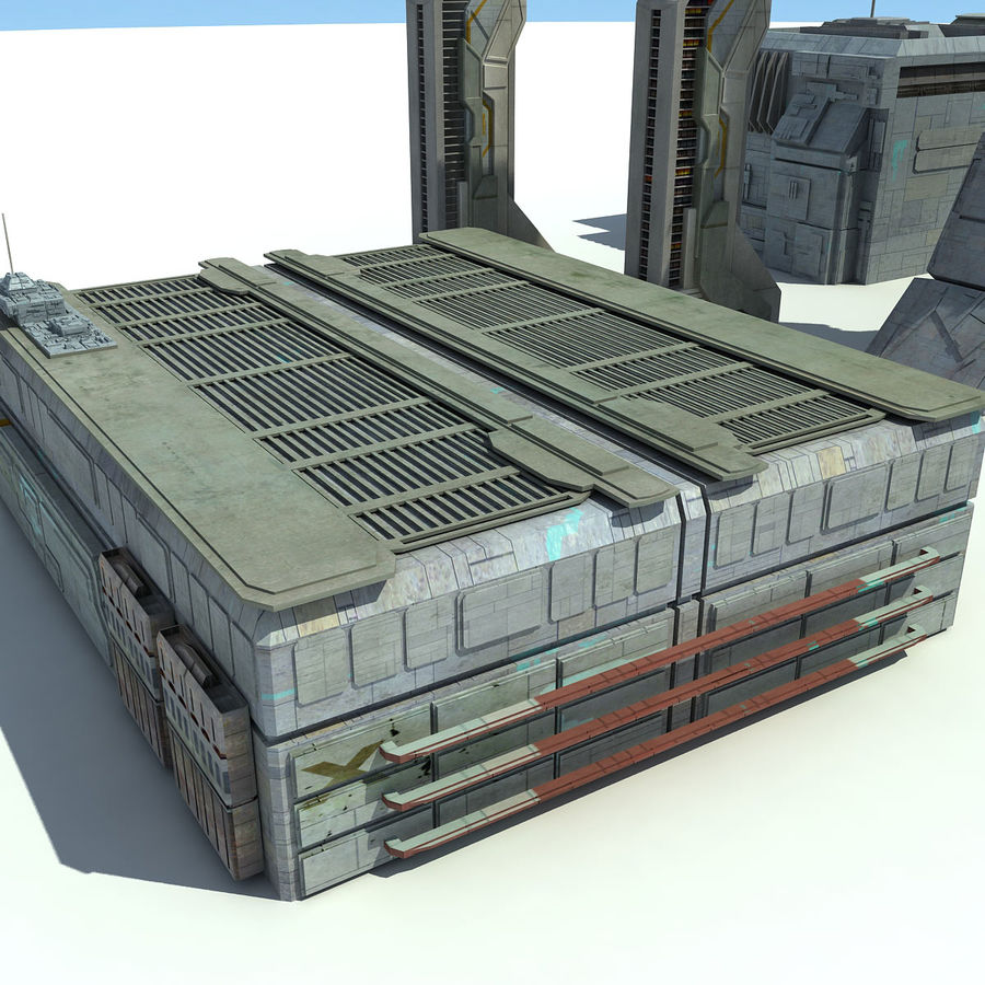 Sci Fi City 11 Buildings royalty-free 3d model - Preview no. 18