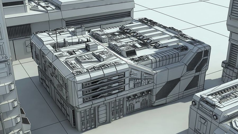 Sci Fi City 11 Buildings royalty-free 3d model - Preview no. 32