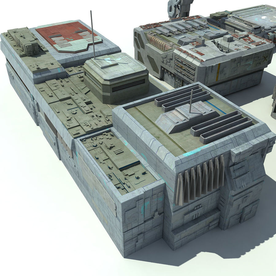 Sci Fi City 11 Buildings royalty-free 3d model - Preview no. 16