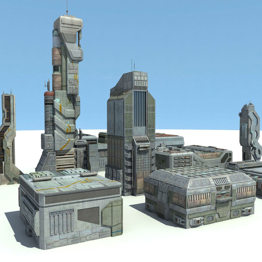 Sci Fi City 11 Buildings royalty-free 3d model - Preview no. 2