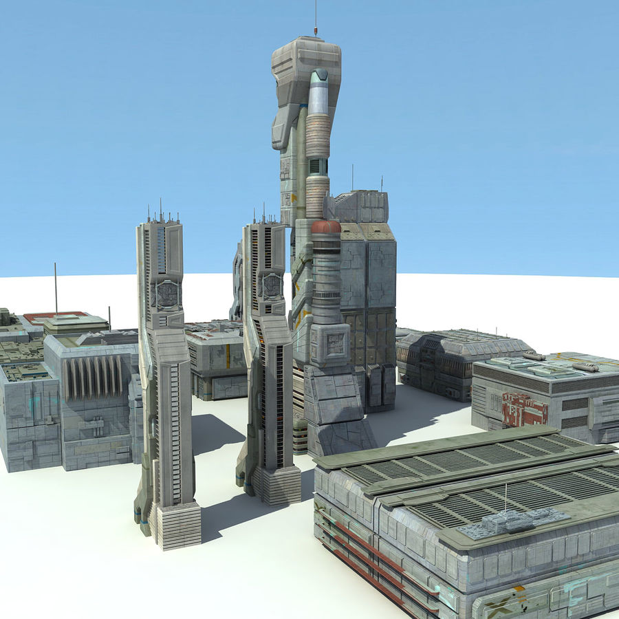 Sci Fi City 11 Buildings royalty-free 3d model - Preview no. 4