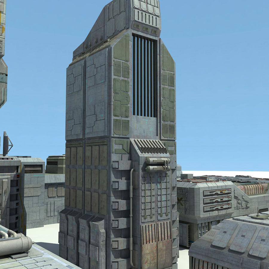 Sci Fi City 11 Buildings royalty-free 3d model - Preview no. 7