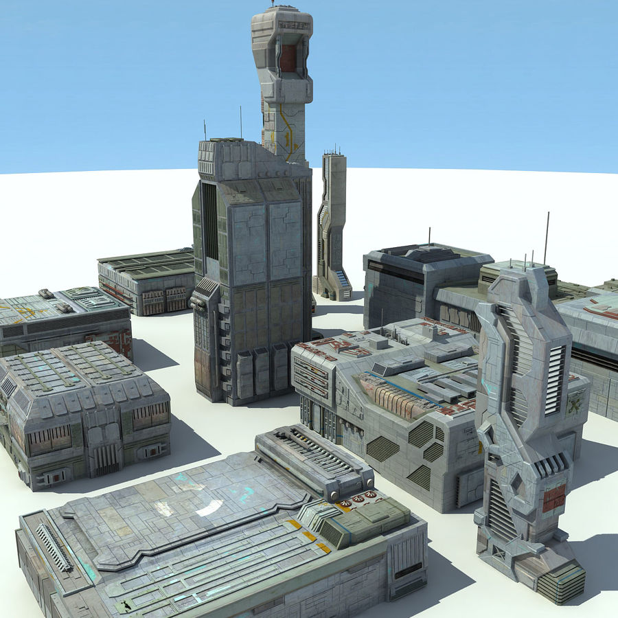 Sci Fi City 11 Buildings royalty-free 3d model - Preview no. 3