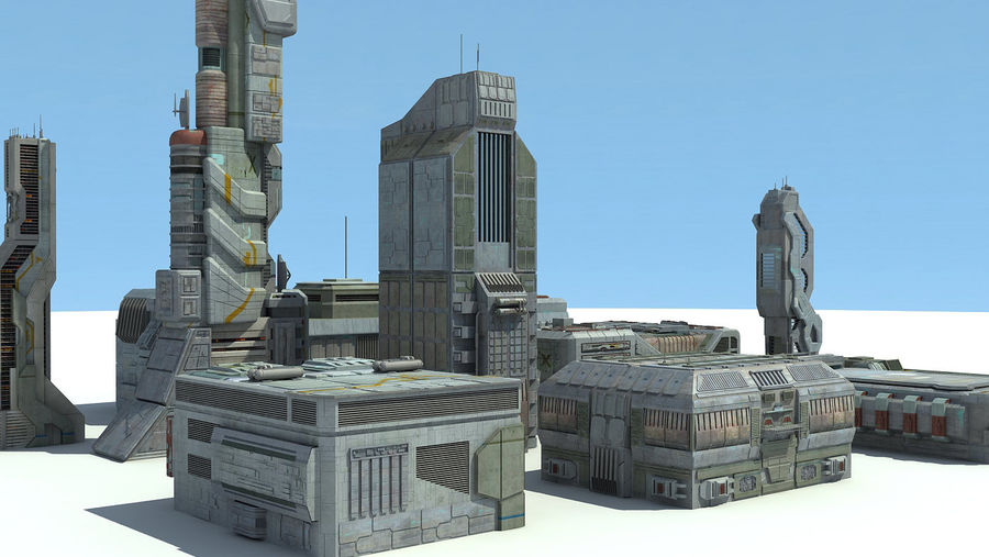 Sci Fi City 11 Buildings royalty-free 3d model - Preview no. 19