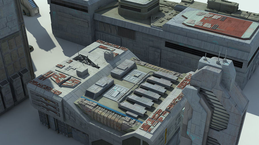 Sci Fi City 11 Buildings royalty-free 3d model - Preview no. 20