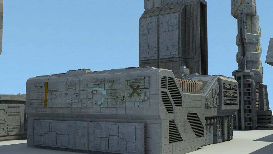 Sci Fi City 11 Buildings royalty-free 3d model - Preview no. 21