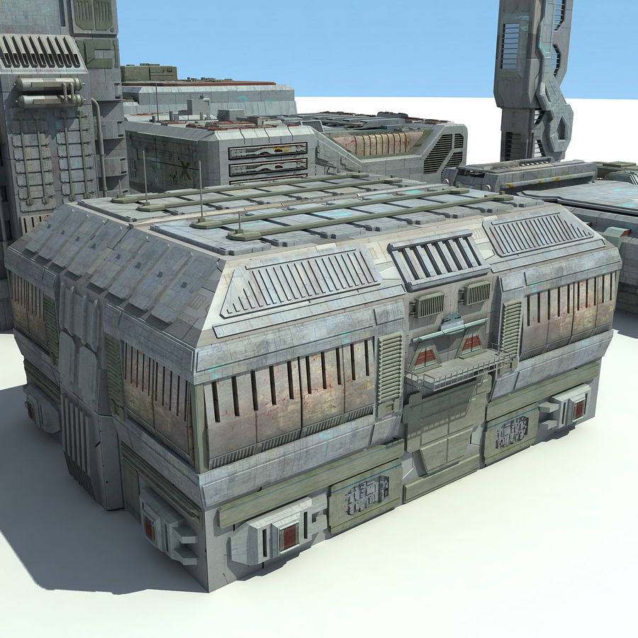 Sci Fi City 11 Buildings royalty-free 3d model - Preview no. 12
