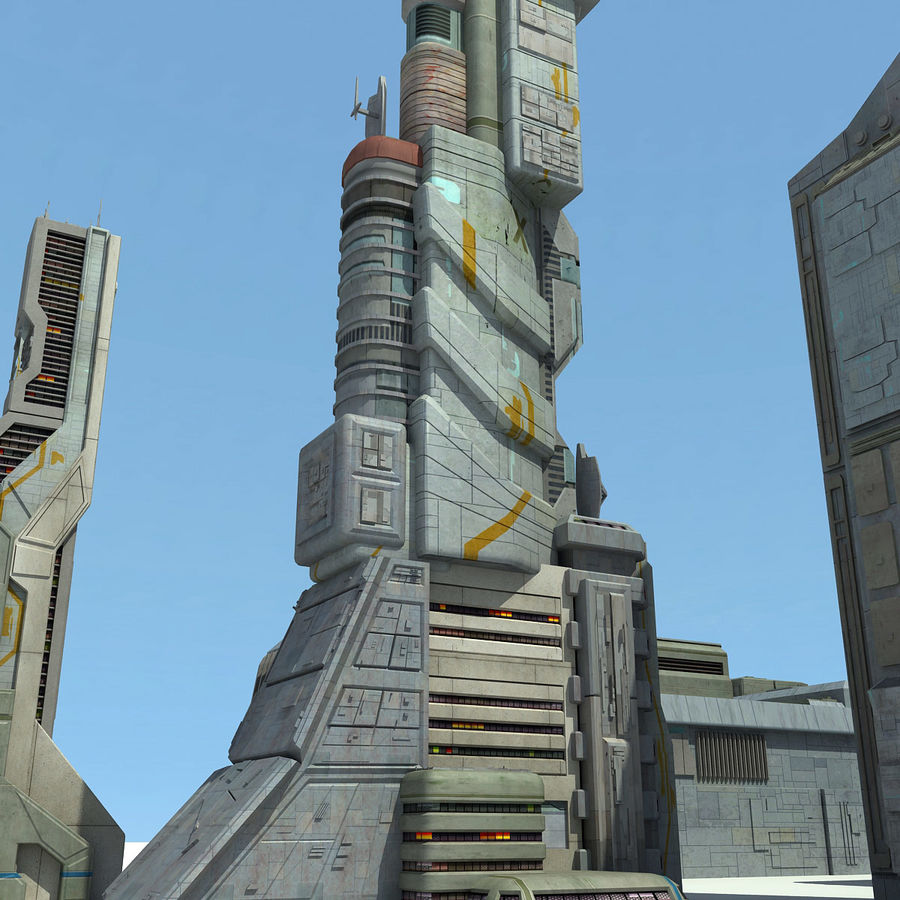 Sci Fi City 11 Buildings royalty-free 3d model - Preview no. 9