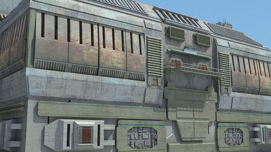 Sci Fi City 11 Buildings royalty-free 3d model - Preview no. 13