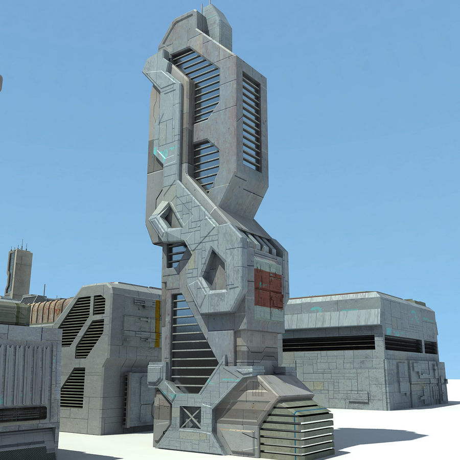 Sci Fi City 11 Buildings royalty-free 3d model - Preview no. 26