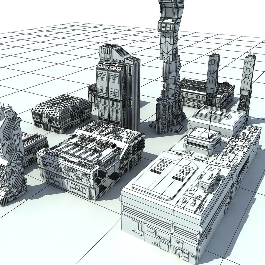 Sci Fi City 11 Buildings royalty-free 3d model - Preview no. 29