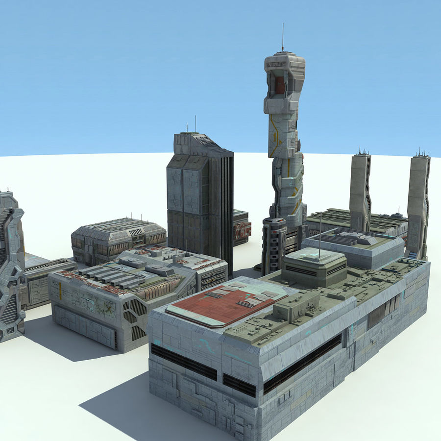 Sci Fi City 11 Buildings royalty-free 3d model - Preview no. 5