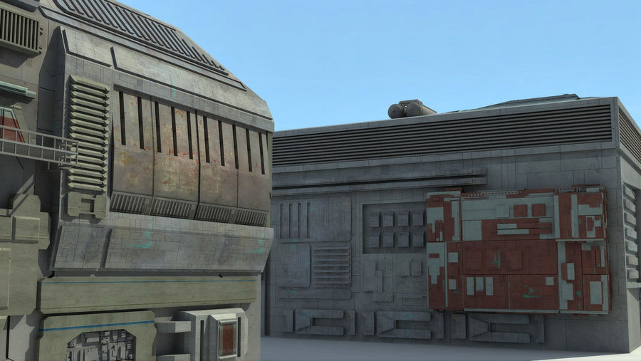 Sci Fi City 11 Buildings royalty-free 3d model - Preview no. 25