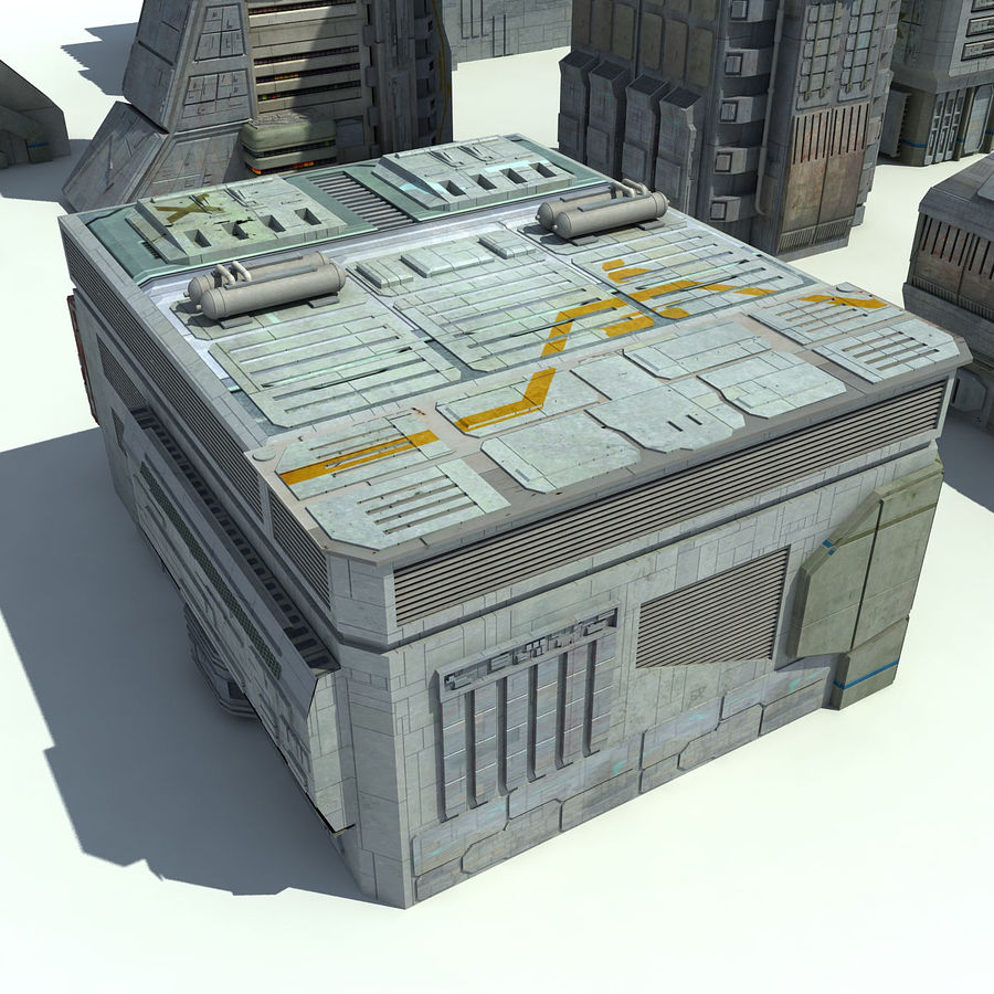 Sci Fi City 11 Buildings royalty-free 3d model - Preview no. 14