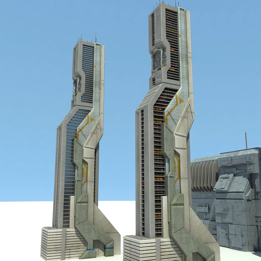 Sci Fi City 11 Buildings royalty-free 3d model - Preview no. 27