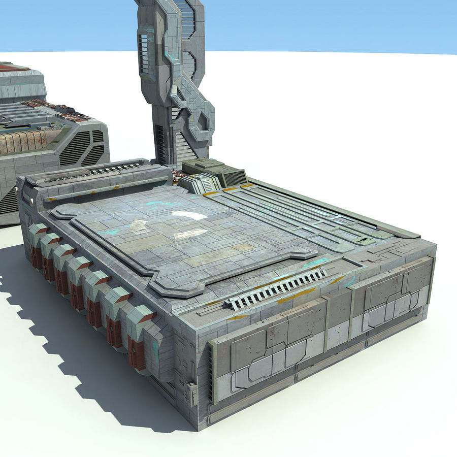 Sci Fi City 11 Buildings royalty-free 3d model - Preview no. 15