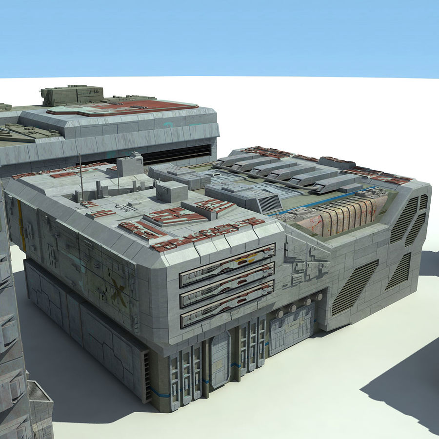 Sci Fi City 11 Buildings royalty-free 3d model - Preview no. 17