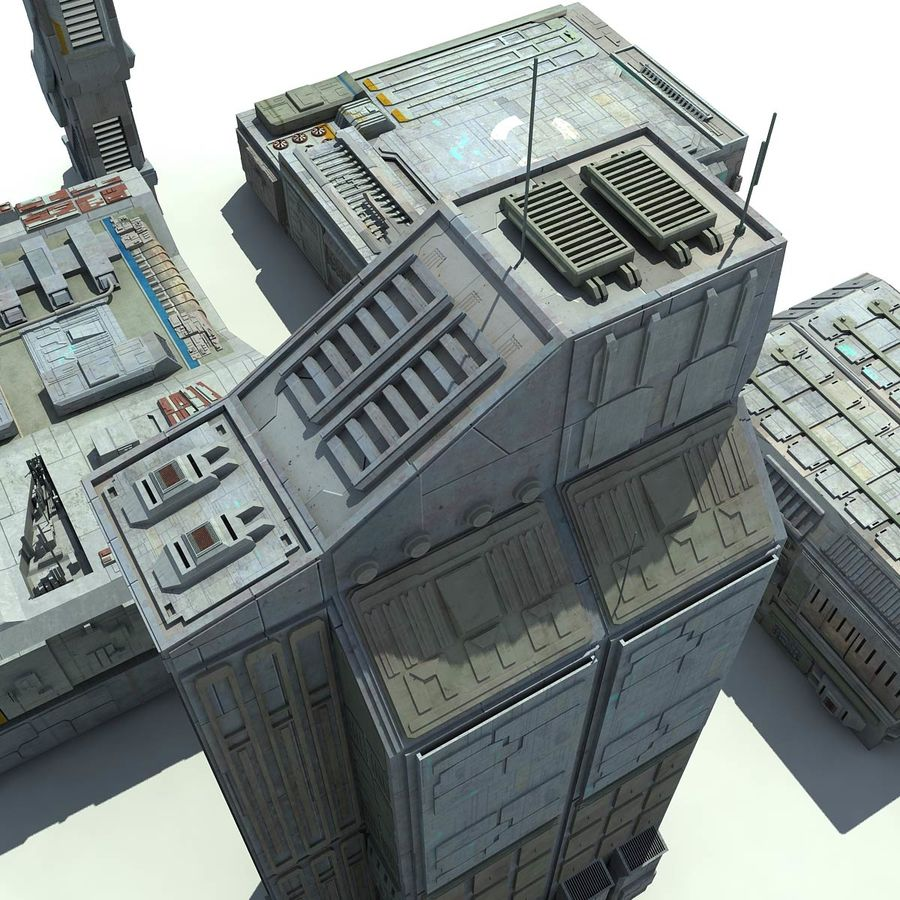 Sci Fi City 11 Buildings royalty-free 3d model - Preview no. 8