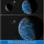 Terre et lune animées 3d model