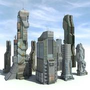 Sci fi City 8 Buildings Futuristic 3d model