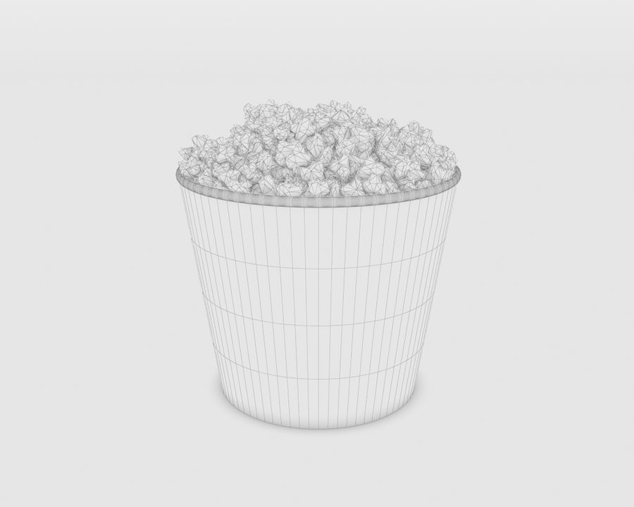 Popcorn Eimer royalty-free 3d model - Preview no. 2