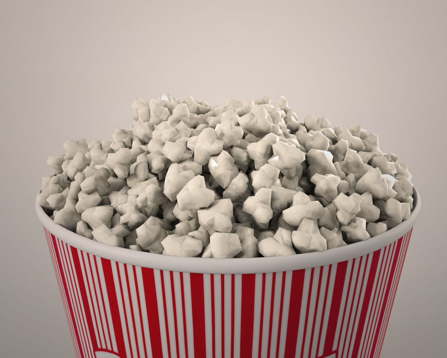 Popcorn bucket royalty-free 3d model - Preview no. 3