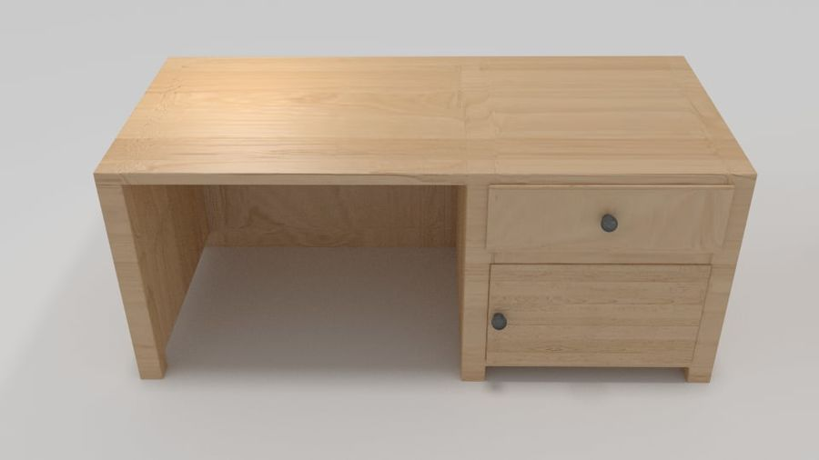 Wooden Desk royalty-free 3d model - Preview no. 3