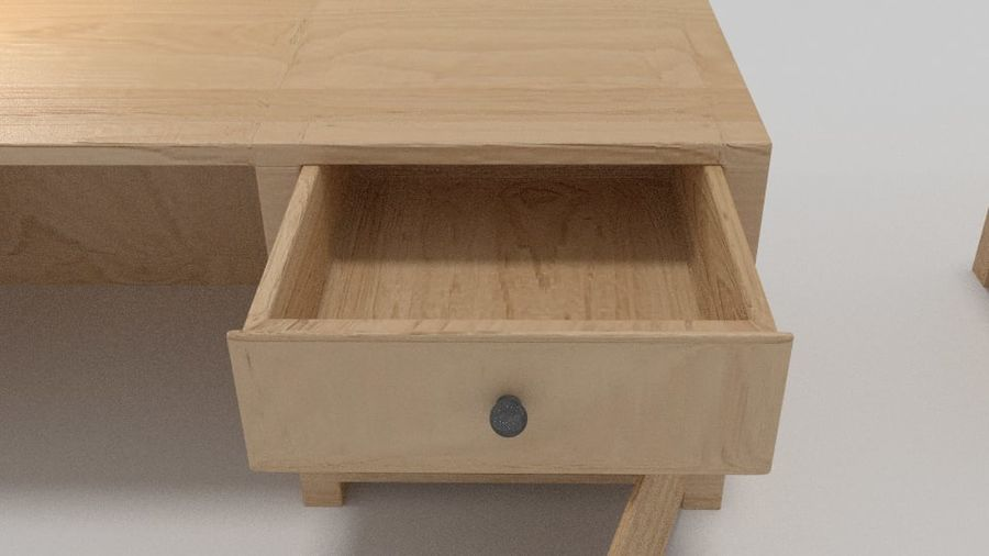 Wooden Desk royalty-free 3d model - Preview no. 5
