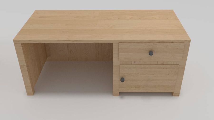 Wooden Desk royalty-free 3d model - Preview no. 4