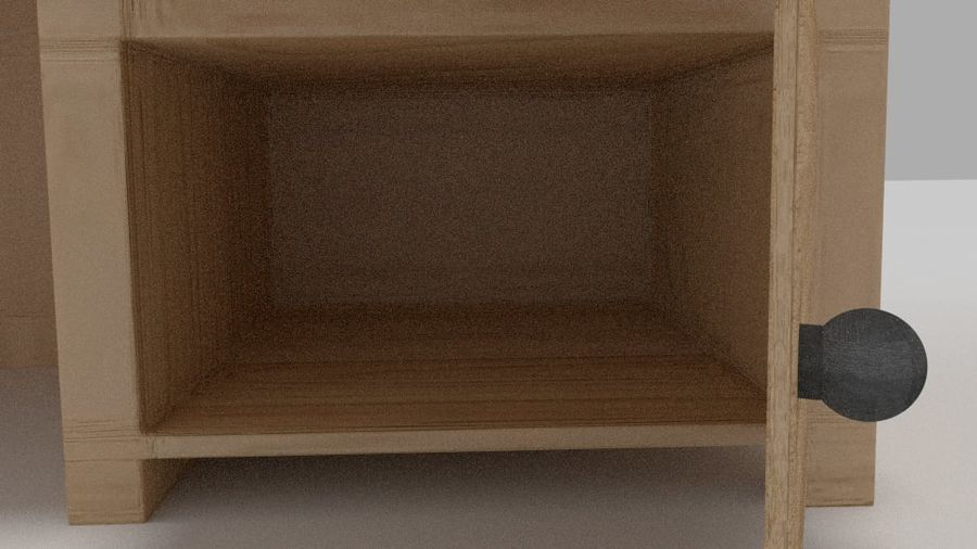 Wooden Desk royalty-free 3d model - Preview no. 6