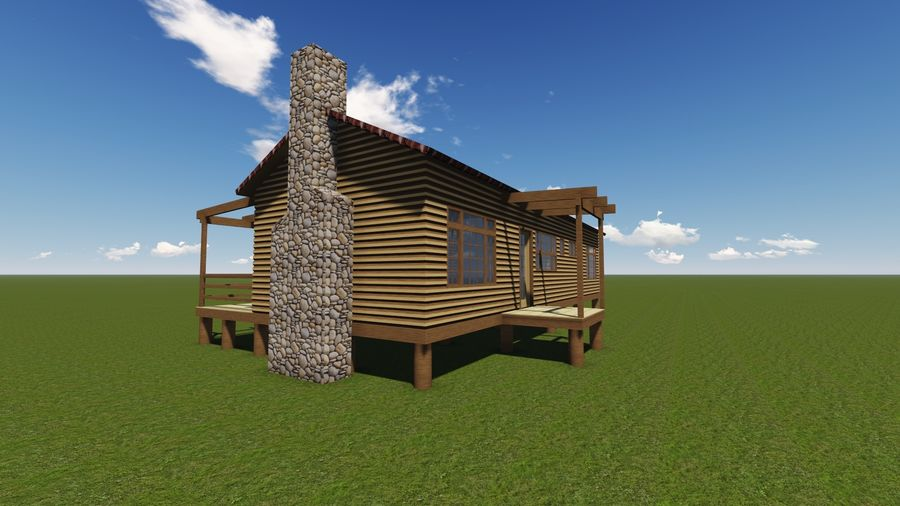 Architecture Cottage House royalty-free 3d model - Preview no. 5