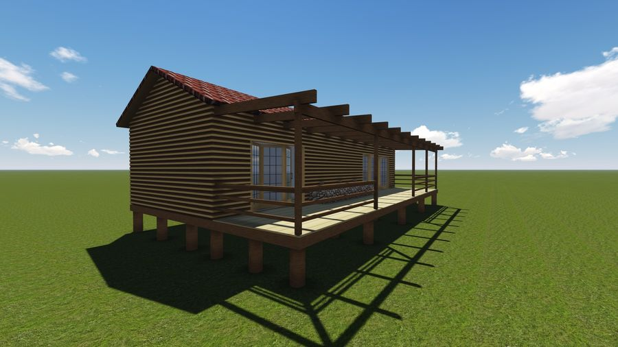 Architecture Cottage House royalty-free 3d model - Preview no. 2
