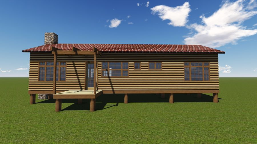 Architecture Cottage House royalty-free 3d model - Preview no. 4