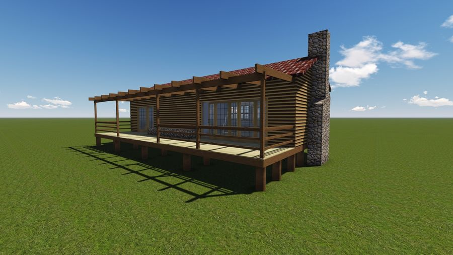 Architecture Cottage House royalty-free 3d model - Preview no. 1