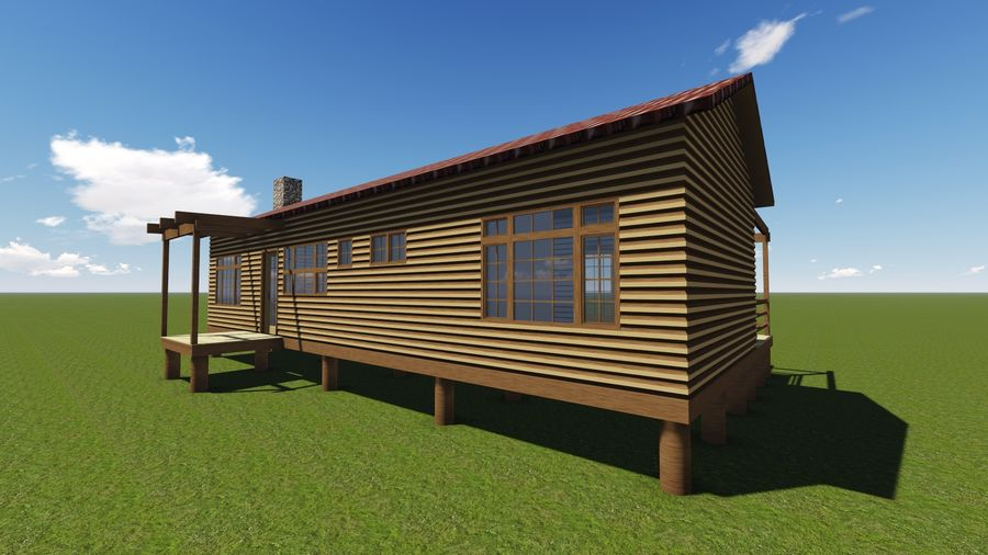 Architecture Cottage House royalty-free 3d model - Preview no. 3