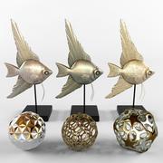bronze fish (and decor) 3d model
