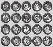 Car Wheels Rims Pack 1 and 2 3d model