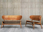 Hans Wegner shell settee bench 3d model