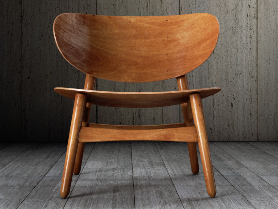 Hans Wegner settee chair royalty-free 3d model - Preview no. 4