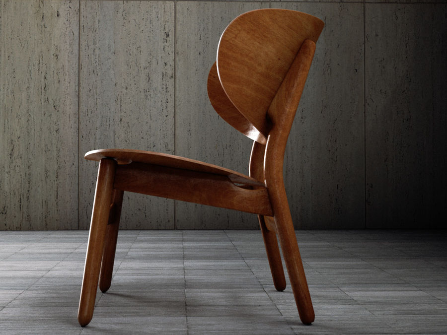 Hans Wegner settee chair royalty-free 3d model - Preview no. 5