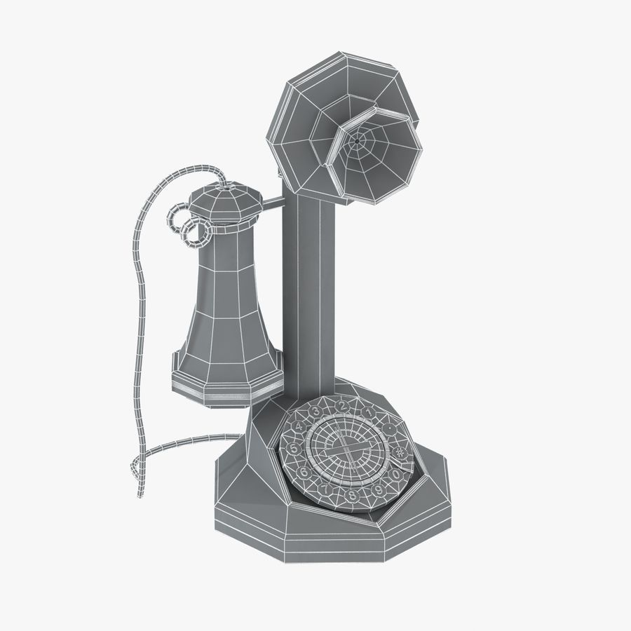 Crosley Old Candlestick Phone royalty-free 3d model - Preview no. 3