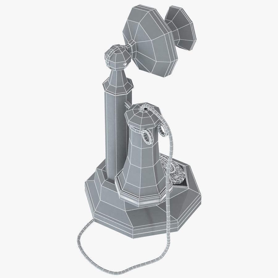 Crosley Old Candlestick Phone royalty-free 3d model - Preview no. 10