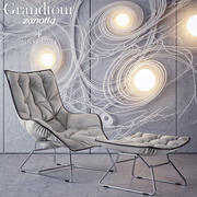 Zanotta Grandtour Chair & Pouf 3d model