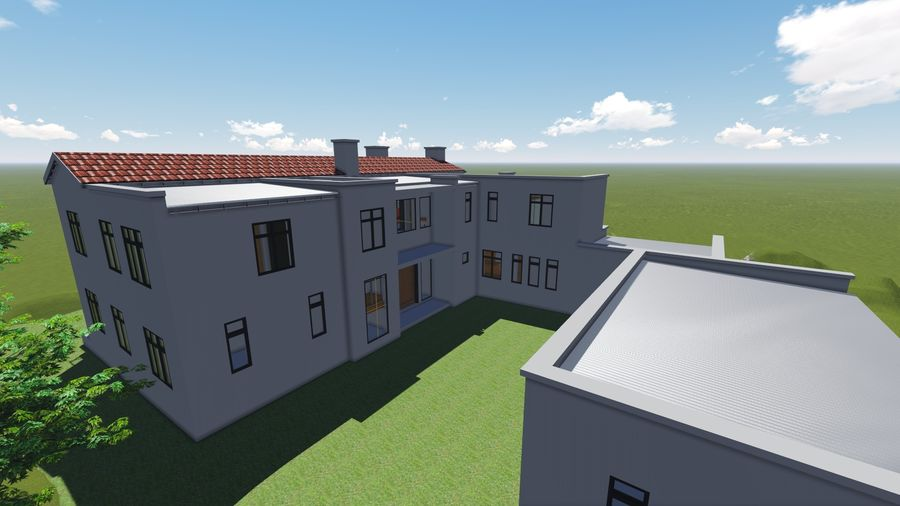 Architecture House 34 royalty-free 3d model - Preview no. 3